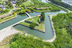 Beautiful Goryokaku park view in summer from Goryokaku tower. Royalty Free Stock Photos