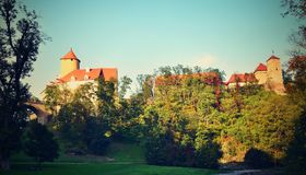 Beautiful Gothic castle Veveri. The city of Brno at the Brno dam. South Moravia - Czech Republic - Central Europe. Royalty Free Stock Images