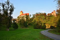 Beautiful Gothic castle Veveri. The city of Brno at the Brno dam. South Moravia - Czech Republic - Central Europe. Royalty Free Stock Photography