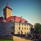 Beautiful Gothic castle Veveri. The city of Brno at the Brno dam. South Moravia - Czech Republic - Central Europe. Stock Photo