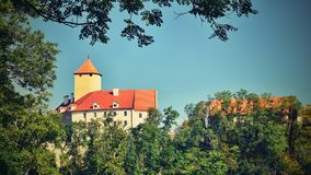 Beautiful Gothic castle Veveri. The city of Brno at the Brno dam. South Moravia - Czech Republic - Central Europe. Royalty Free Stock Photo