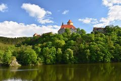 Beautiful Gothic castle Veveri. The city of Brno at the Brno dam. South Moravia - Czech Republic - Central Europe. Spring landscap. E Royalty Free Stock Image