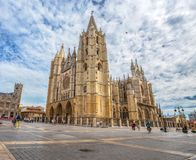 Beautiful Gothic Cathedral Of Leon, Castilla Leon, Spain. Stock Photos