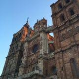 Beautiful gothic cathedral, Spain. Hermosos espacios antiguos camino a Santiago de Compostela. Stock Photo