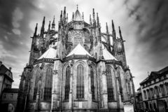 The beautiful, Gothic Cathedral of St. Vitus in Prague. royalty free stock photography