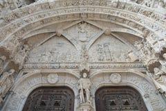 Beautiful gothic portal of Jeronimos Monastery. Incredibile detail of the Jerominos Monastery portal in Belem, near Lisbon Royalty Free Stock Photos