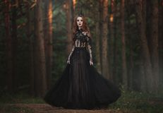 A beautiful gothic princess with pale skin and very long red hair in a black crown and a black long dress in a misty fairy forest. royalty free stock photography