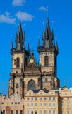 Beautiful gothic St. Vitus Cathedral on Prague Castle with blue Sky Stock Image