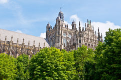 Beautiful Gothic style cathedral in Den Bosch, Netherlands. Detailed exterior design of the most popular landmark in Den Bosch Royalty Free Stock Photo