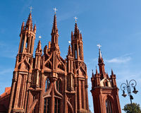Beautiful Gothic Style St. Anne Church. In Vilnius, Lithuania on a Beautiful Summer Day Royalty Free Stock Photography