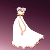 Beautiful gown lace detail. Beautiful gown with flower and lace detail adorned by bow with ribbon vector illustration