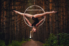 Beautiful and graceful aerial gymnast performs exercises on the air ring Stock Photo