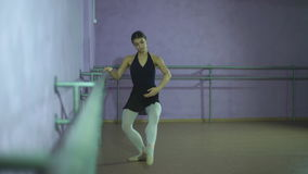 Beautiful graceful dancer performs elements of ballet stock video
