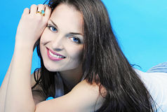 Beautiful graceful girl brunette with long hair Royalty Free Stock Image
