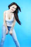 Beautiful graceful girl brunette with long hair Royalty Free Stock Photo