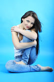 Beautiful graceful girl brunette with long hair Stock Photos