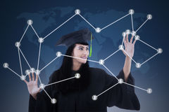 Beautiful graduate with social network concept Royalty Free Stock Image