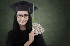 Beautiful Graduate Student Get Money Stock Image