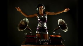 Beautiful gramophone DJ stock video footage