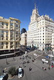 Beautiful Gran Via street at spring sunny day Stock Images