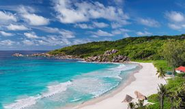 Beautiful Grand Anse Beach in La Digue island, Seychelles. Stock Images