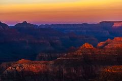 Beautiful Grand Canyon landscape overlook. From the Hopi Point with contrast and vibrant and flaming colors, Arizona Stock Image