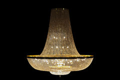 Beautiful Grand chandelier isolated with clipping paths on black background. Royalty Free Stock Photos