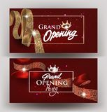 Beautiful grand opening invitation banners with silk ribbons with pattern and frames. Vector illustration. Beautiful grand opening invitation banners with silk royalty free illustration