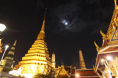 Beautiful Grand Palace. At night time with full moon sky Stock Image
