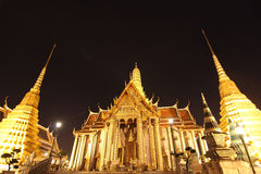 Beautiful Grand Palace at night. The Grand Palace in Bangkok at night with beautiful sky on the full moon day Stock Photo
