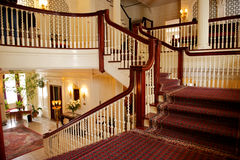 Beautiful grand staircase. Details of the beautiful grand or central staircase in the George Eastman House, Rochester, New York (USA royalty free stock images