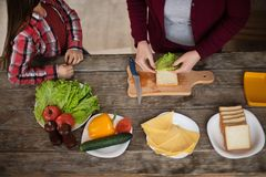Beautiful grandma and granddaughter are making sandwiches. Up view image of grandma and granddaughter making sandwiches. Food on table Royalty Free Stock Photography
