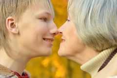 Beautiful grandmother with boy Stock Photo