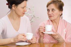 Beautiful grandmother and granddaughter together Stock Image