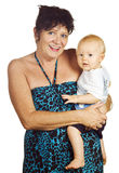 Beautiful grandmum and gorgeous baby grandson Royalty Free Stock Photo