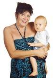 Beautiful grandmum and gorgeous baby grandson Royalty Free Stock Photo
