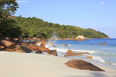 Beautiful granite boulders in Indian Ocean on the Royalty Free Stock Photo