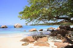 Beautiful granite boulders in Indian Ocean on Royalty Free Stock Images