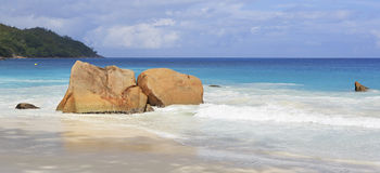 Beautiful granite boulders in Indian Ocean on the Royalty Free Stock Image