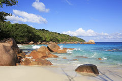 Beautiful granite boulders in Indian Ocean on the Royalty Free Stock Images