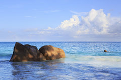 Beautiful granite boulders in Indian Ocean on the Stock Image