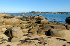 Beautiful granite rock at seaside royalty free stock photography