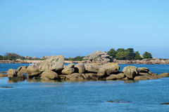 Beautiful granite rock at seaside royalty free stock photo