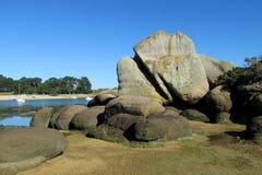 Beautiful granite rock at seaside stock photo