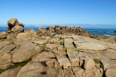 Beautiful granite rocks at the sea coast royalty free stock photography