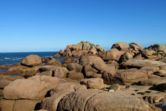 Beautiful granite rocks at the sea coast Stock Image