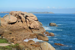 Beautiful granite rocks at the sea coast Stock Photos