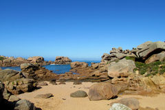 Beautiful granite rocks at the sea coast Stock Images