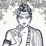 Beautiful graphic Buddha face over the Bodhi Tree. Hand-drawn high-quality vector composition. Spiritual and religious motives. Coloring book page for adults Vector Illustration