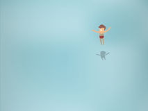 Beautiful graphic design of man floating in transparent sea Royalty Free Stock Images